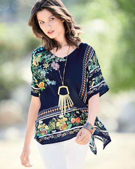 Plus Size Rosanna Floral-Print Silk Top