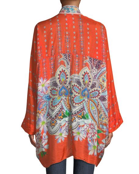 Summer Paisley Silk Kimono Cardigan, Petite