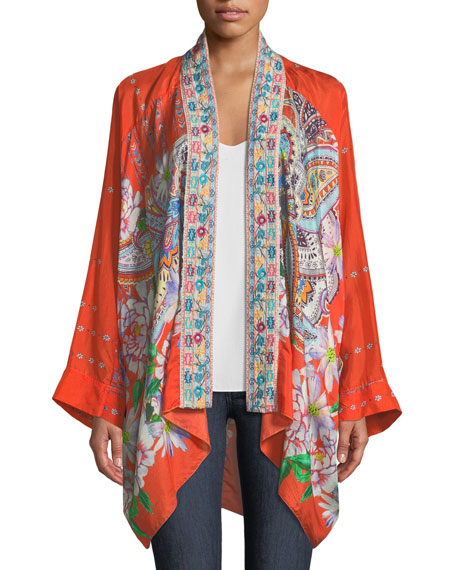 Summer Paisley Silk Kimono Cardigan, Plus Size