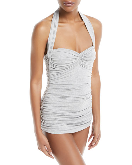 Bill Mio Halter Ruched Heathered One-Piece Swimsuit