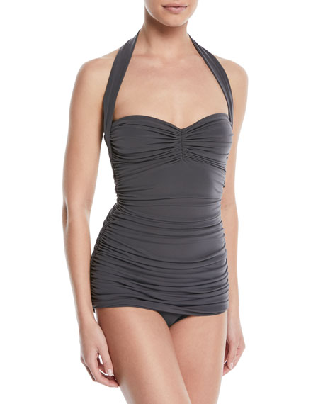 Norma Kamali Bill Mio Shirred Halter One-Piece Swimsuit
