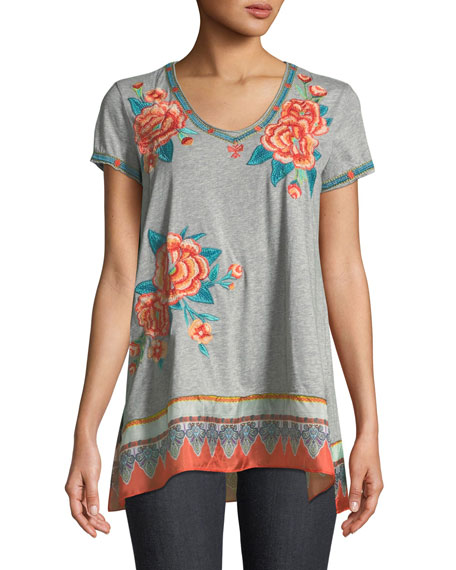 Johnny Was Aveline Scarf-Flounce Tunic, Petite