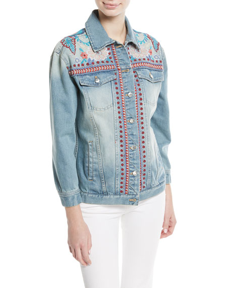 Oman Embroidered Denim Jacket, Plus Size