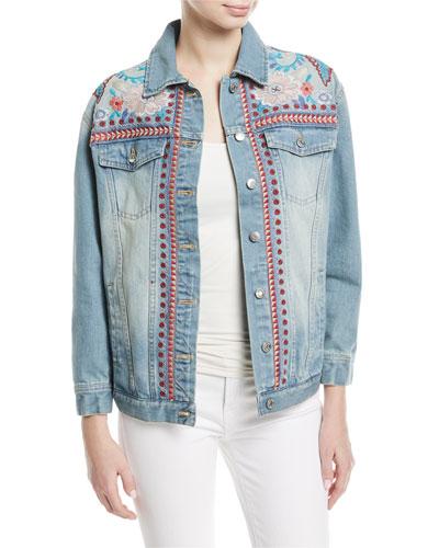 Oman Embroidered Denim Jacket, Petite
