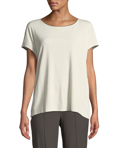 Stretch-Silk Jersey Top with Piping