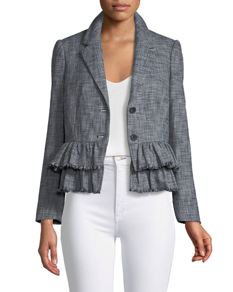Rebecca Taylor Slub-Suiting One-Button Jacket