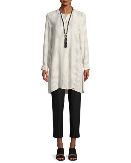 Painterly Striped Silk Long Shirt, Plus Size