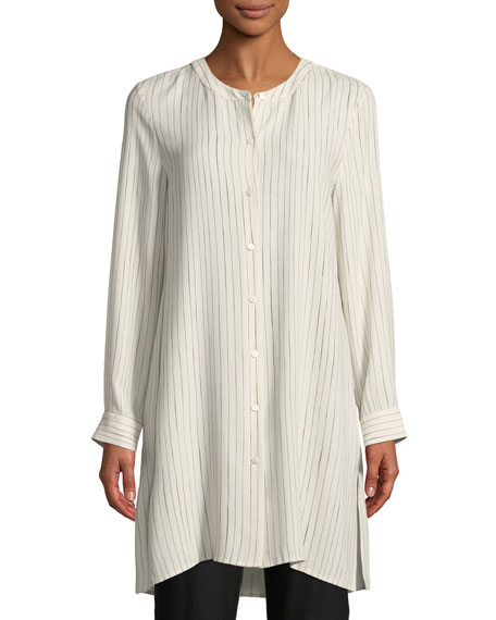 Painterly Striped Silk Long Shirt, Petite