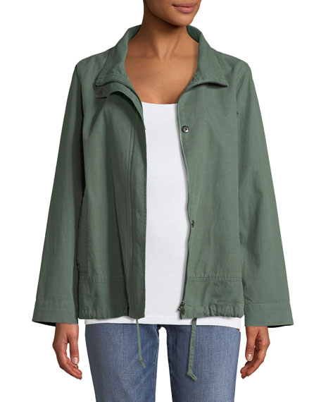 Eileen Fisher Organic Cotton-Hemp A-Line Jacket, Plus Size