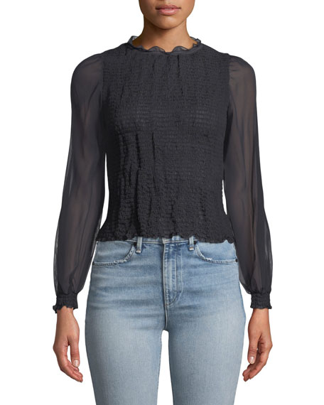 Rag & Bone Diana Smocked Long-Sleeve Blouse