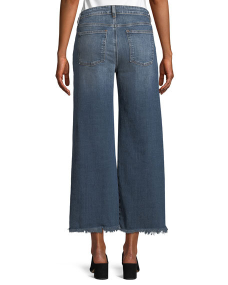 Organic Cotton Stretch-Denim Wide-Leg Ankle Jeans with Raw Edges, Petite