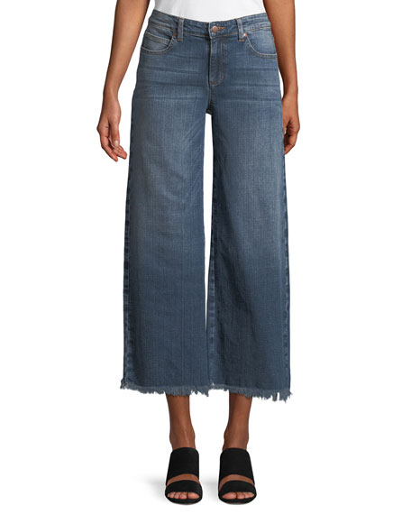 Eileen Fisher Organic Cotton Stretch-Denim Wide-Leg Ankle Jeans