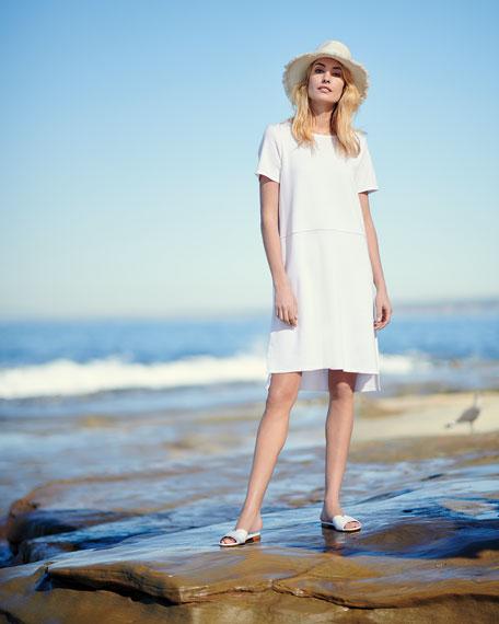 Stretch Ponte Short-Sleeve Dress, Petite