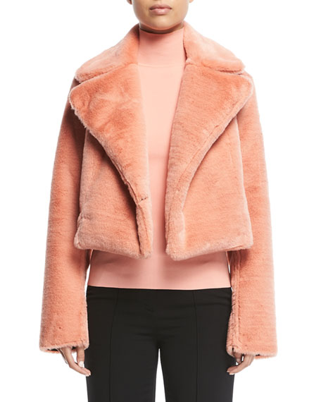 Collared Long-Sleeve Cropped Faux-Fur Jacket