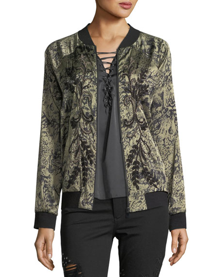 Haute Hippie Crystal Ball Zip-Front Bomber Jacket with