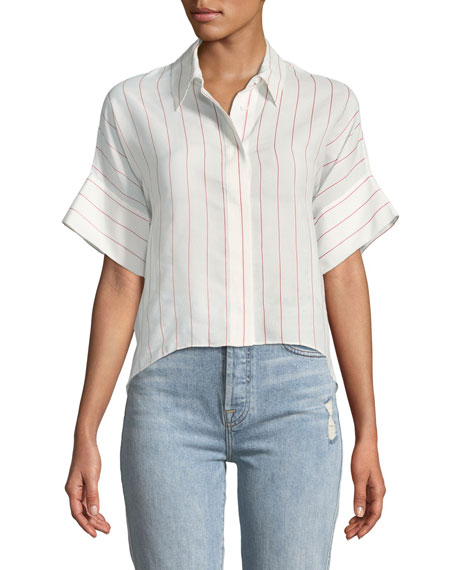 Edyth Button-Front Striped High-Low Blouse