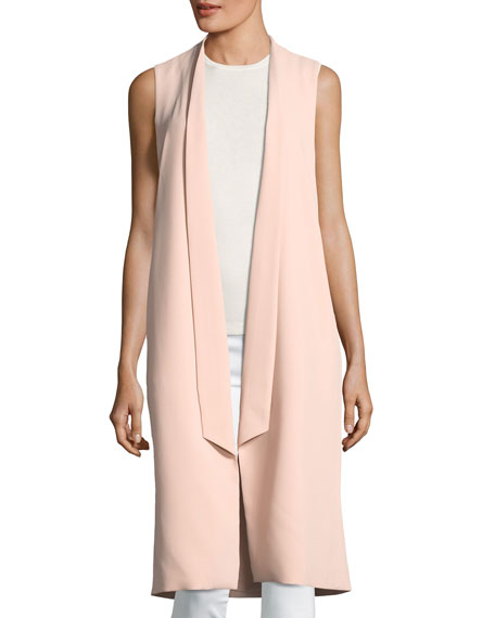 Keaton Open-Front Collar Long Vest