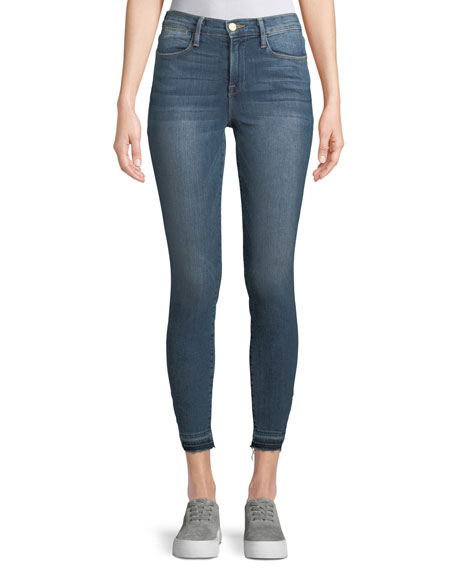 FRAME Le High Skinny Jeans w/ Triangle-Cut Hem