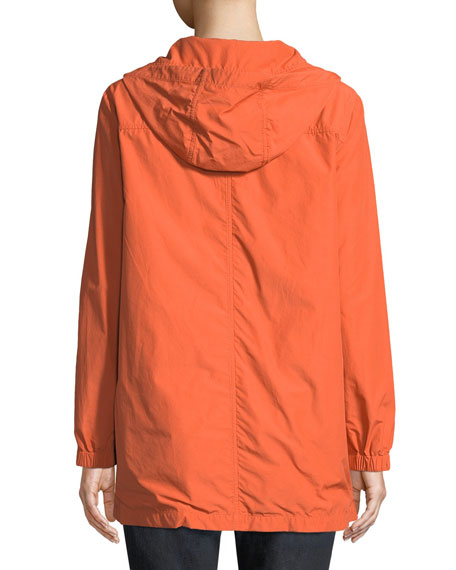 Washed Organic Cotton-Blend Hooded Anorak Jacket, Petite
