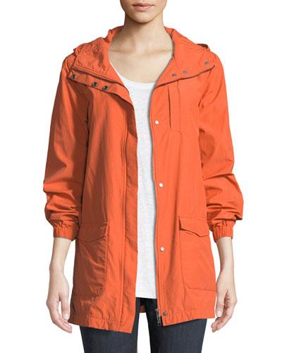 Washed Organic Cotton-Blend Hooded Anorak Jacket, Petite