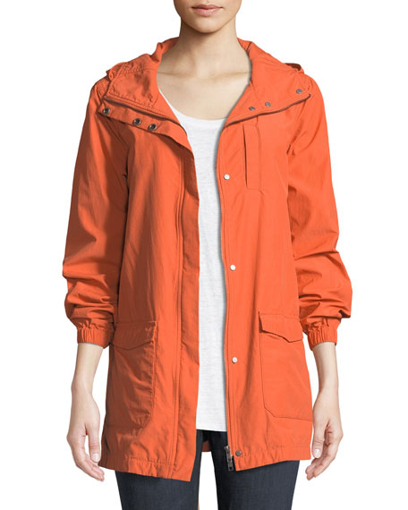 Eileen Fisher Washed Organic Cotton-Blend Hooded Anorak Jacket,