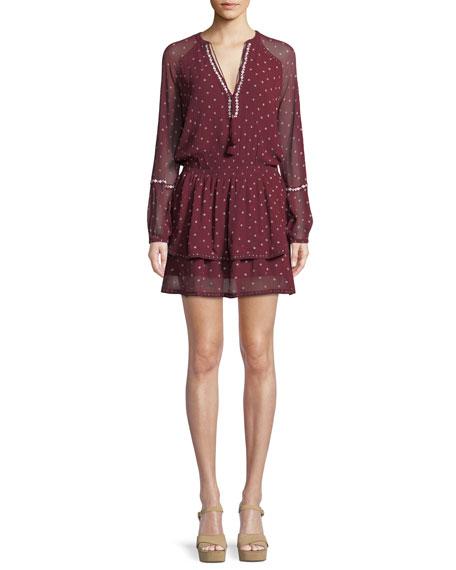 Shanti V-Neck Chiffon Short Dress