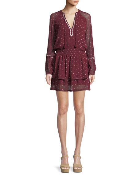 PAIGE Shanti V-Neck Chiffon Short Dress
