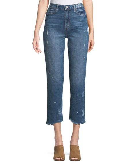 PAIGE Sarah High-Rise Straight-Leg Crop Jeans with Fray