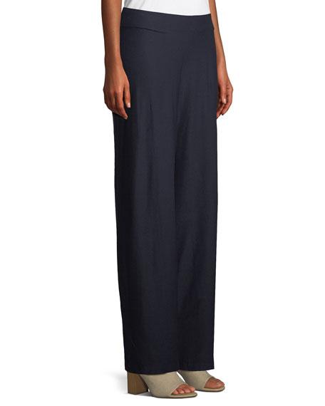 Washable Stretch Crepe Modern Wide-Leg Pants, Petite
