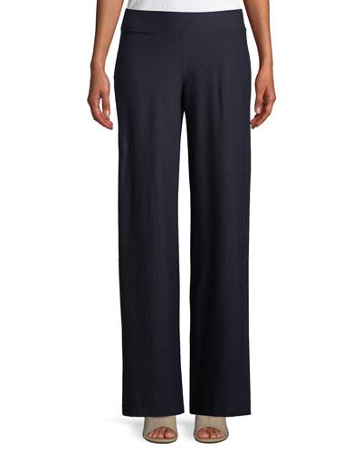 Washable Stretch Crepe Modern Wide-Leg Pants, Plus Size