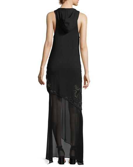 King of Salem Sleeveless Silk Chiffon Dress with Beaded Embellishments