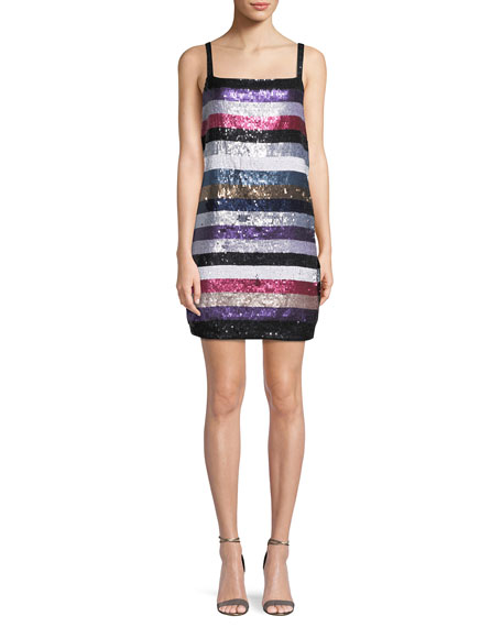 Parker Nora Sleeveless Striped Sequin Mini Cocktail Dress