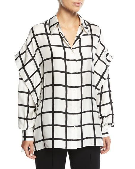Diane von Furstenberg Grid-Print Button-Down Long-Sleeve Silk