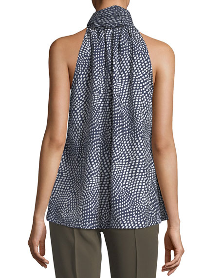 Tie-Neck Sleeveless Printed Silk Blouse
