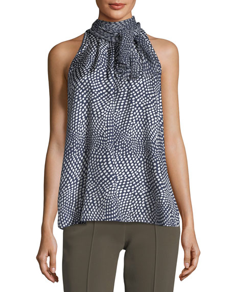 Diane von Furstenberg Tie-Neck Sleeveless Printed Silk Blouse