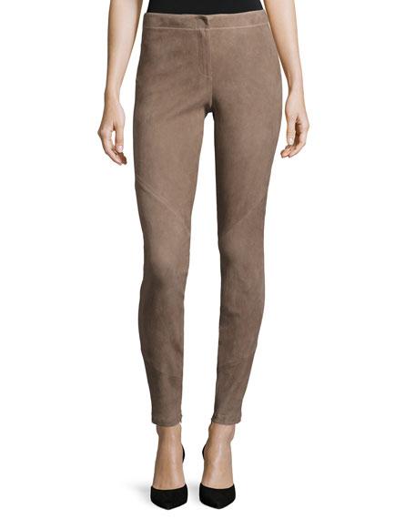 Lafayette 148 New York Suede Zip-Cuff Slim-Leg Pants