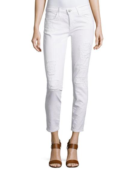 Current/Elliott Stiletto Distressed Skinny Pants, White