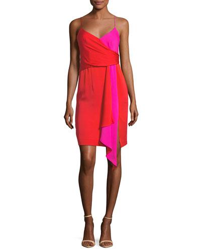 Cindy Two-Tone Stretch-Silk Dress