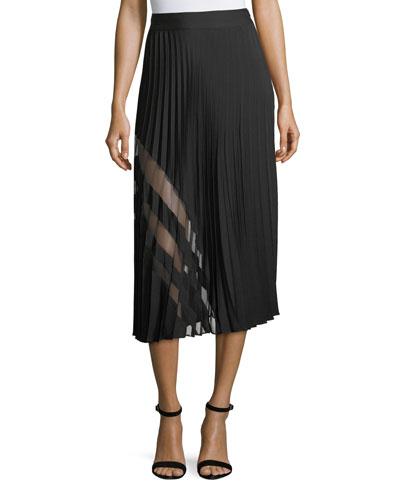 Pleated Stretch-Silk Maxi Skirt