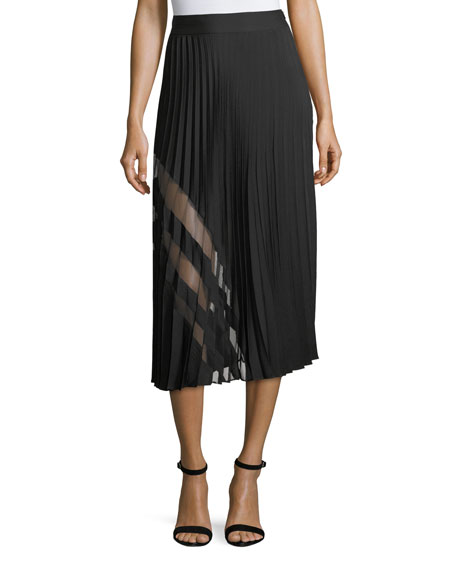 Pleated Stretch-Silk Maxi Skirt