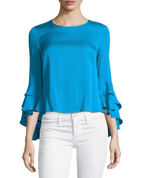 Milly Gabby Silk Ruffle-Sleeve Top