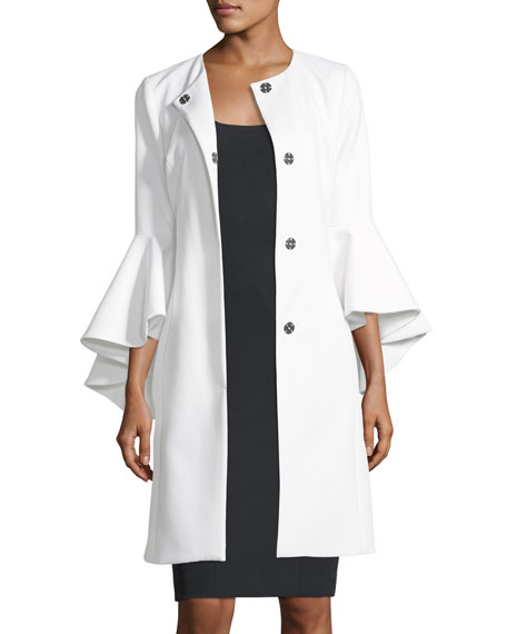 Milly Selena 3/4-Sleeve Snap-Front Coat