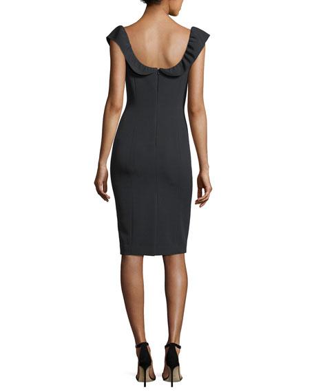 Savannah Ruffle-Sleeve Sheath Dress