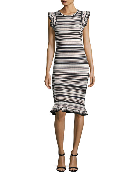 Milly Micro-Striped Mini-Mermaid Dress