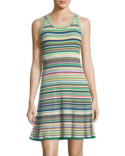 Micro Striped Flare Dress