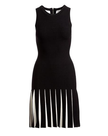 Contrast-Pleated Mermaid Dress