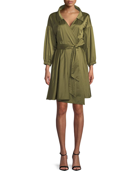 Milly Italian Duchess Taffeta Wrap Dress