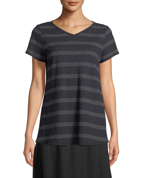 Eileen Fisher Dot-Striped V-Neck T-Shirt