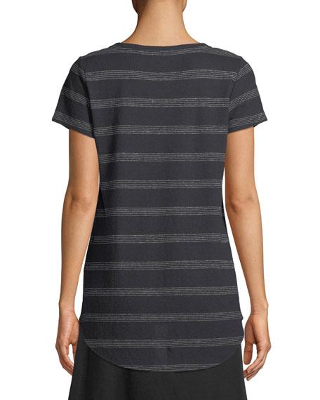 Dot-Striped V-Neck T-Shirt, Plus Size
