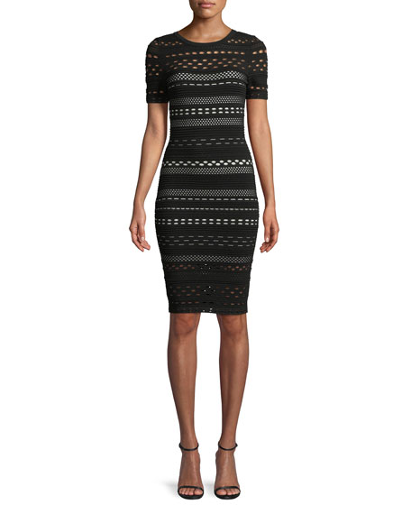 Sheath Dress with Lace Cutouts